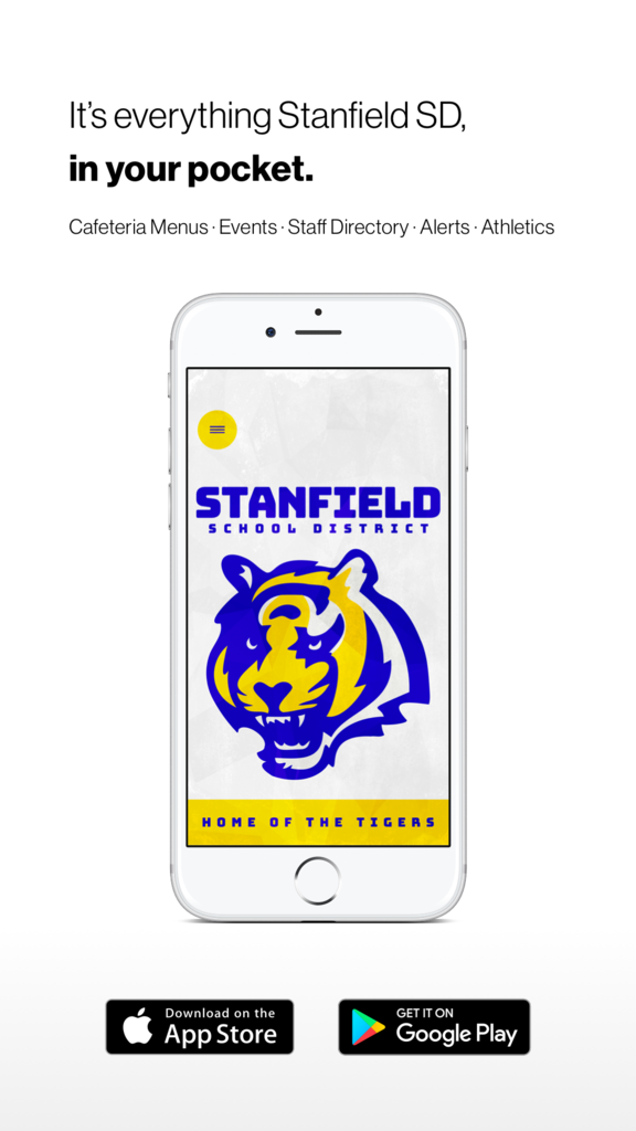 Home screen of the app with the district mascot logo